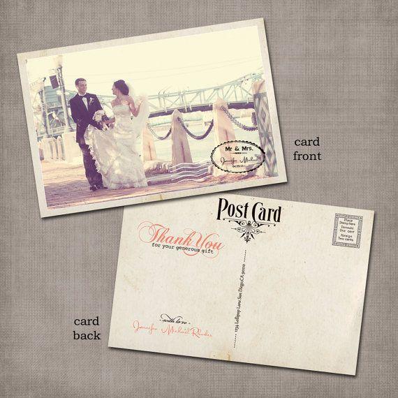 Postcard wedding thank you cards.