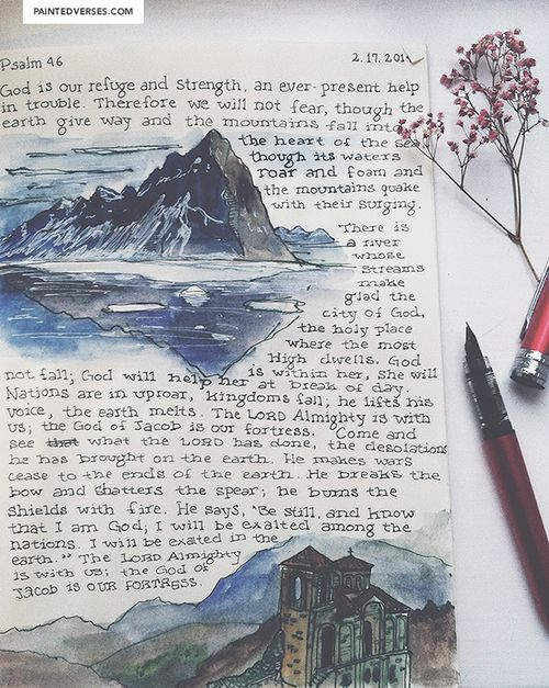 @dasscherick  paintedverses: Psalm 46. Mountain landscape on Moleskin. http://www.sdahymnal.net/