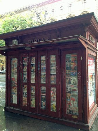 A newsstand on Andrassy Utca in Budapest, Hungary.