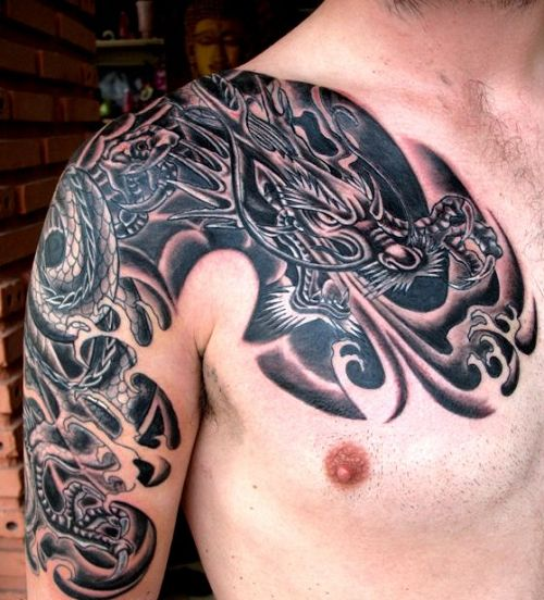 sleeve and shoulder dragon tattoo