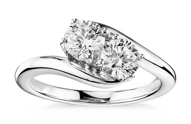 Two-Stone Solitaire Diamond Ring by Blue Nile | bridesandrings.com