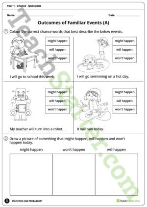Chance Worksheets – Year 1