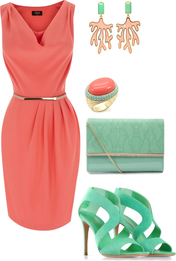 """""""Coral and Mint"""" by jawgeegirl on Polyvore   really like the colors...love the dress the shoes are a bit out of there though. I would probably break an ankle or something!"""
