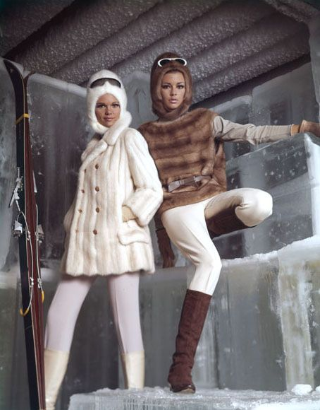 """Apres-Ski Bunnies"" by Virginia Thoren 1963 stretch pants and ski boots. I had the white coat with dark green stretch ski pants, and dark green and white snowflake, wool sweater"