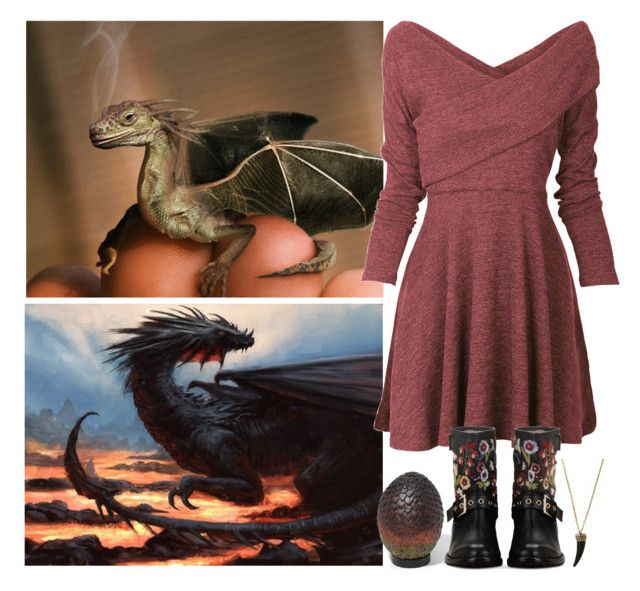 """Magical Creatures #2 Dragon"" by leah1992 ❤ liked on Polyvore featuring Dream Collective, RED Valentino, harrypotter, magic, dragons and magicalcreatures"