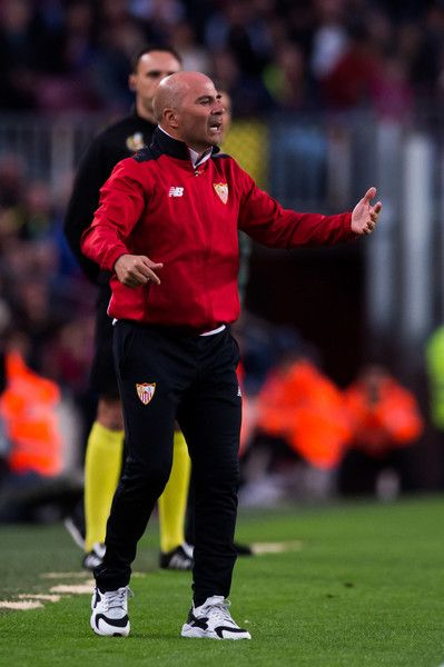 Head Coach Jorge Sampaoli of Sevilla FC reacts during the La Liga match between FC Barcelona and Sevilla FC at Camp Nou stadium on April 5, 2017 in Barcelona, Catalonia.