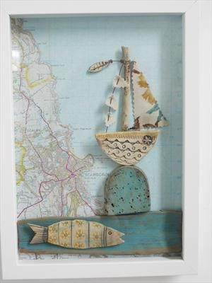 "Shirley Vauvelle - Mixed Media Artist Shadow Box ""Sailing past Brighton"" -other coastlines by request"