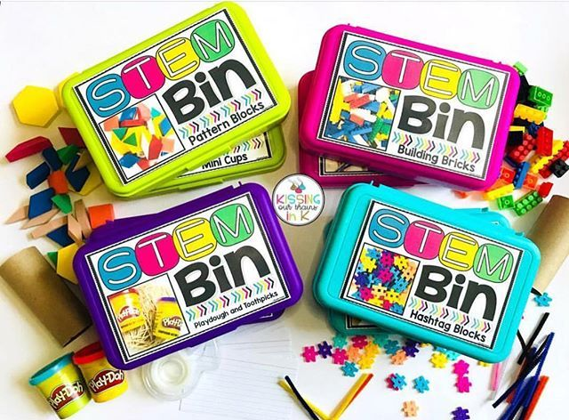 Oh-so-happy colorful STEM Bins (from @michaelsstores) from  @kissingourbrainsink! 😍💗👏🏻 . . #teachoutsidethebox #t… | Stem bins,  Kindergarten stem, Preschool stem