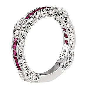 Beautiful filigree on wedding band...add black diamonds instead of rubies and this would be perfect