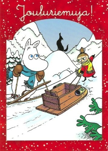 Moomin Christmas Postcard - Moomintroll and Little My sledding