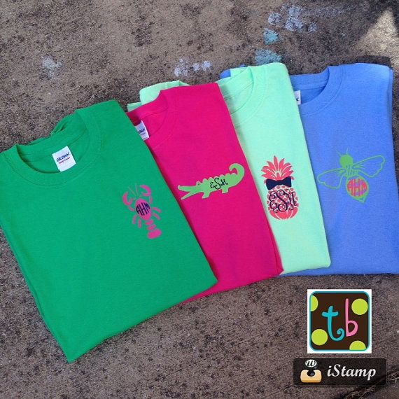 All monogram tees are made using high quality heat pressed vinyl. T-shirts should be machine washed inside out in warm or hot with mild detergent. Dry