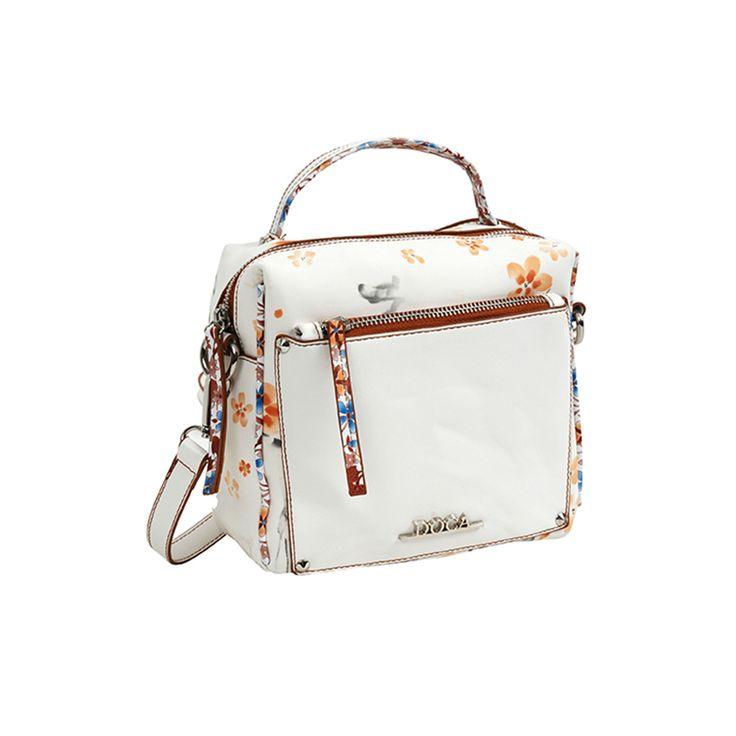 Καθημερινή άσπρη γυναικεία τσάντα με πολύχρωμο floral τύπωμα, μπροστινή τσέπη με μονό χερούλι και πορτοκαλί λεπτομέρειες από την συλλογή Άνοιξη-Καλοκαίρι 16.