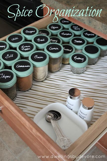 Trade in your spice rack for a spice drawer, equipped with the labeled mason jar tops.
