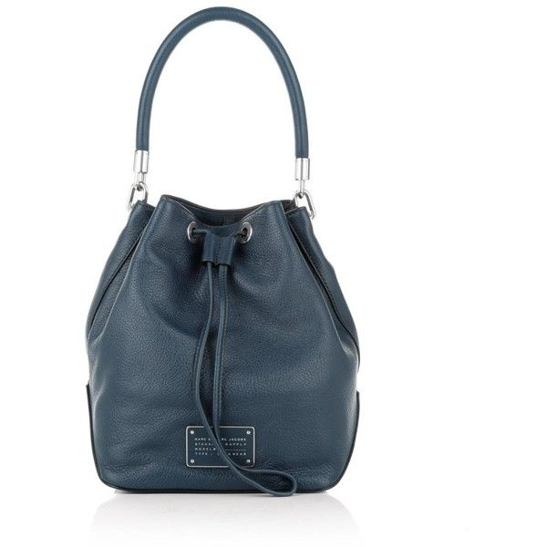 Marc by Marc Jacobs Large Drawstring Bucket Bag Amalfi Coast in blue,... ($330) ❤ liked on Polyvore featuring bags, handbags, shoulder bags, blue, handbag purse, drawstring bucket bag, man bag, man shoulder bag and blue leather handbags