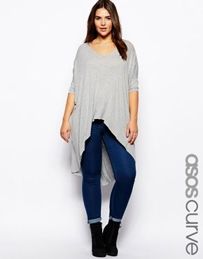 ASOS CURVE Exclusive Dip Back Top In Grey Marl This top is perfect for those early summer, late spring and even fall days when the temp can't decide whether to be hot or lukewarm.
