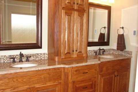 Bathroom oak cabinets design pictures remodel decor and - How to redo bathroom cabinets for cheap ...