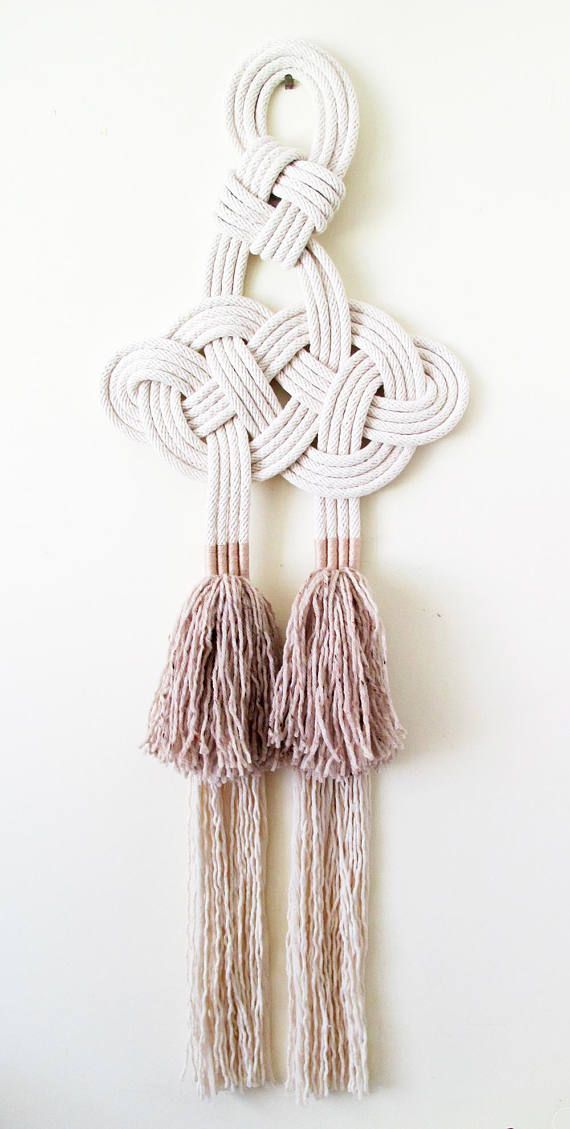 Knot Wall Art Celtic Knot Wool Tassels Wall Hanging Natural Cotton Rope Handmade Rope Art Rope Wall Hanging Nautical Decor Wall Art Rope Art Macrame Patterns Celtic Knots Diy