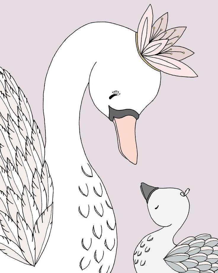 Swan Nursery Art - Swan Mama and Baby - My Darling