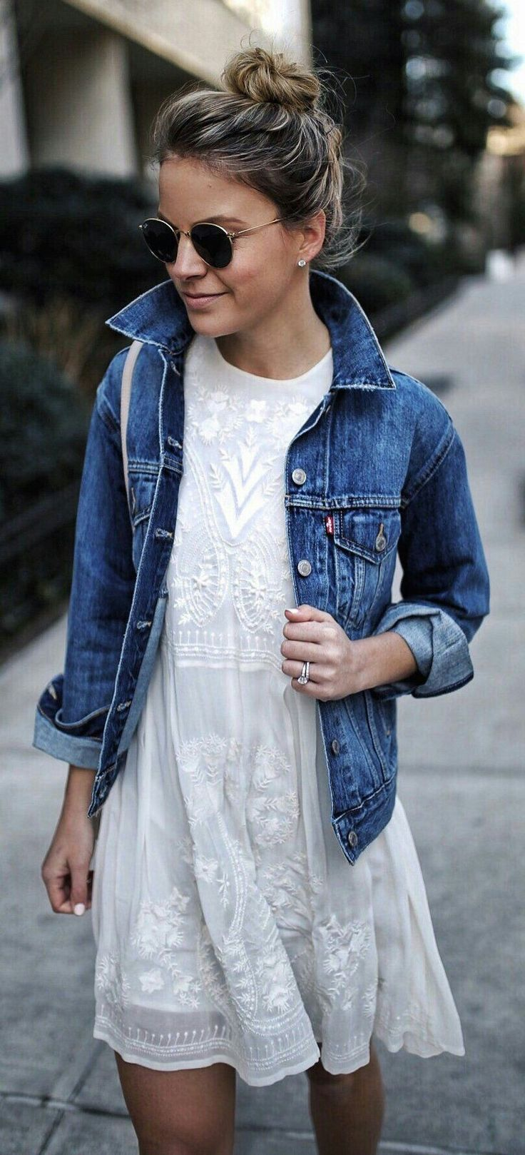 Basically looks like this dress denim jacket converse example - White Dress With Jean Jacket Minus The Shades