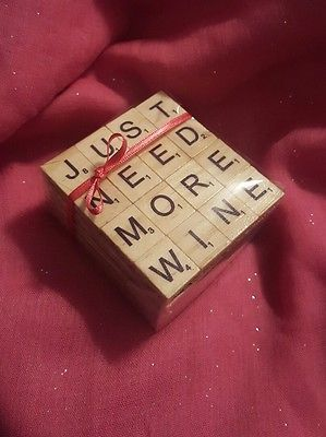 Wooden Letter Coasters- Scrabble Coasters in Crafts, Hand-Crafted Items | eBay!