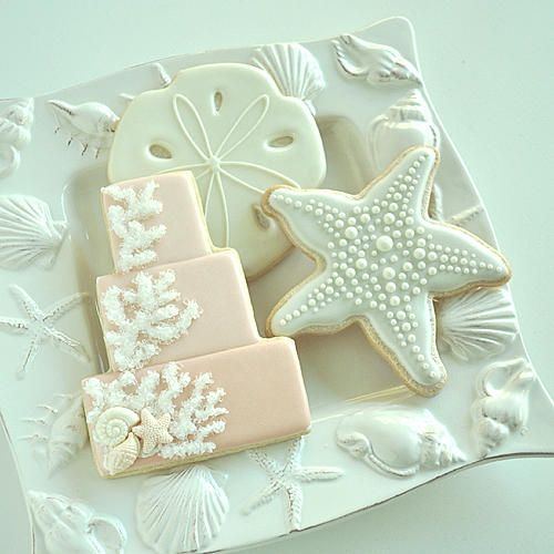 Seaside Wedding Cookies Cake Cookie With Sugared Coral And Fondant Sealife Starish Sandollar In Pearl Tones