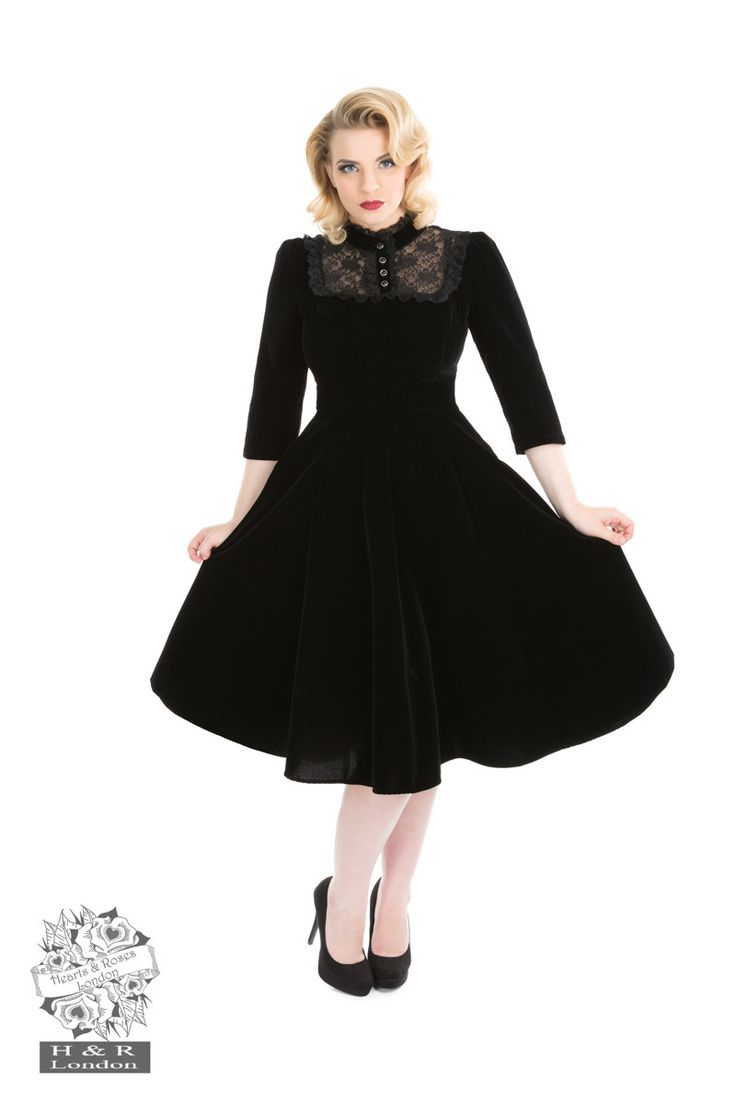 Hearts and Roses London - Night Shade Velvet Dress
