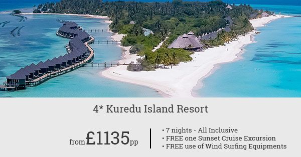 Bag great savings and freebies on your Maldives holiday! Stay at Kuredu for 7 nights and get one free sunset cruise excursion. Also, use wind surfing equipment for free!