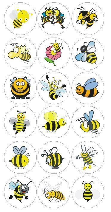 Bumble Bee Cartoon Scrap Book Stickers Label Decal Craft Teach Made In Usa #D172