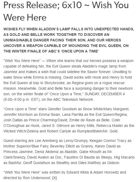 Synopsis - 6x10 ~ Wish You Were Here