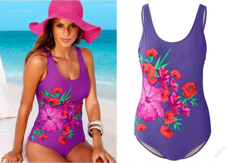 NOVÉ ,,FIALOVÉ plavky s květinami vel.44 a vel.42 :: AVENTE ...móda s nápadem
