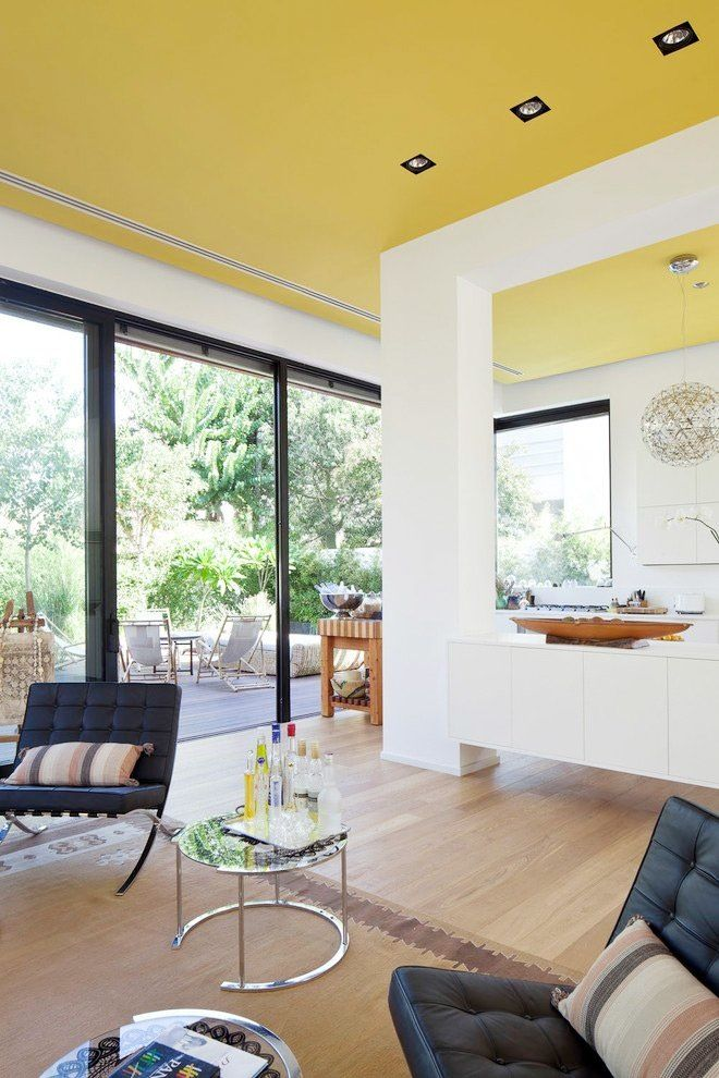 the unexpected ceiling color that brightens up any room - Living Room Ceiling Colors