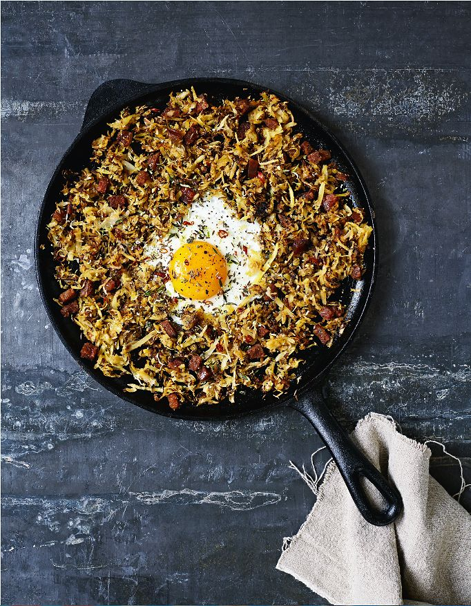 Parsnip Chorizo Hash with Lime, Thyme and Fried Eggs - The Happy Foodie