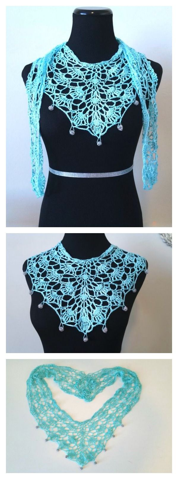 Caribbean Turquoise Necklace Scarf FREE Crochet Pattern