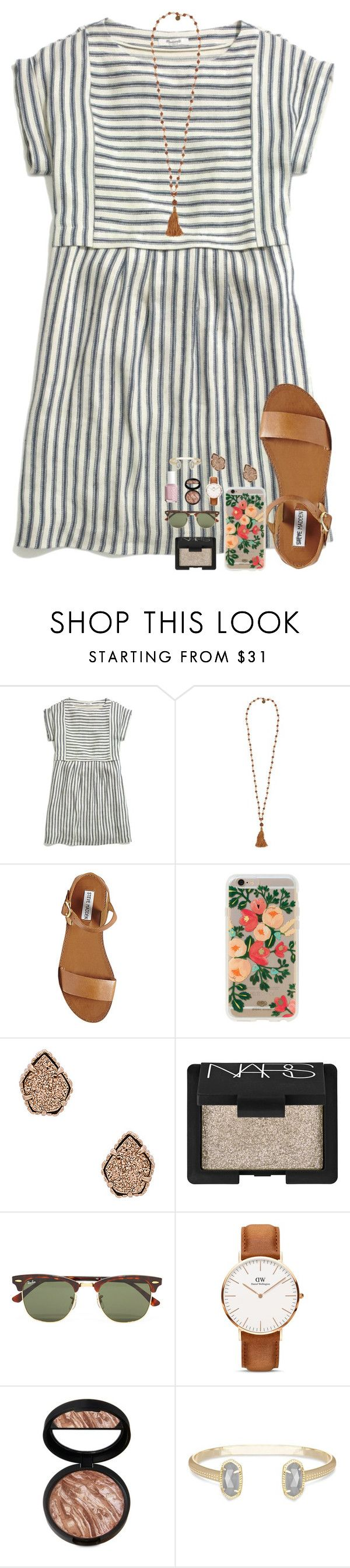 """""""getting close to 1K!!!"""" by morganmestan ❤ liked on Polyvore featuring Madewell, Cocobelle, Steve Madden, Rifle Paper Co, Kendra Scott, NARS Cosmetics, Ray-Ban, Daniel Wellington and Essie"""