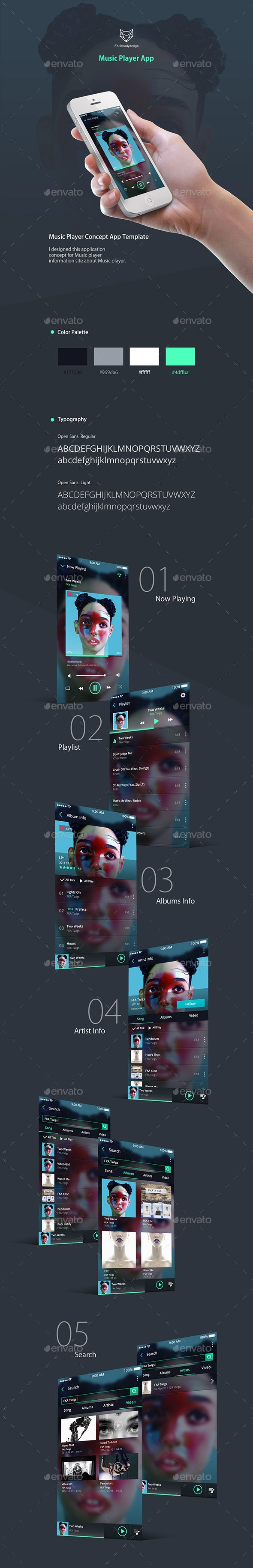 Music Player App Design UI/UX- User Interfaces Web Template PSD. Download here: http://graphicriver.net/item/music-player-app/16543839?ref=yinkira