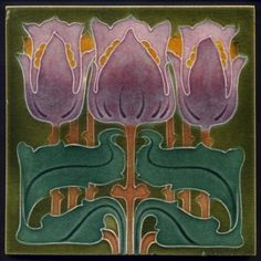 A rare and fabulous art nouveau tile from the most ebullient of designers, usually seen only in two colours, this colourway seen once before in a Shapland & Petter washstand. The 'triple tulip' genre with a generous helping of Marsden's design flair making a bold and unique pattern decorated with a fabulous array of colours. | eBay!