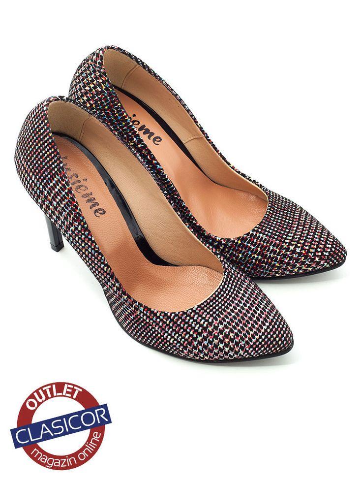 Pantofi stiletto din piele naturala, dama – 733 color mozaic | Pantofi piele online / outlet incaltaminte piele | Clasicor