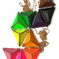 Leather Triangle Necklace by EABurns 1