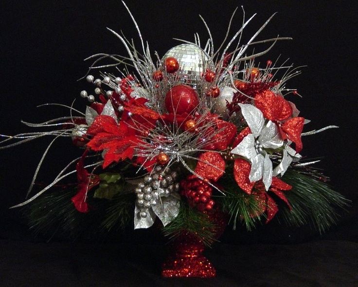 Christmas Centerpiece Red Silver Darby 39 S Wedding