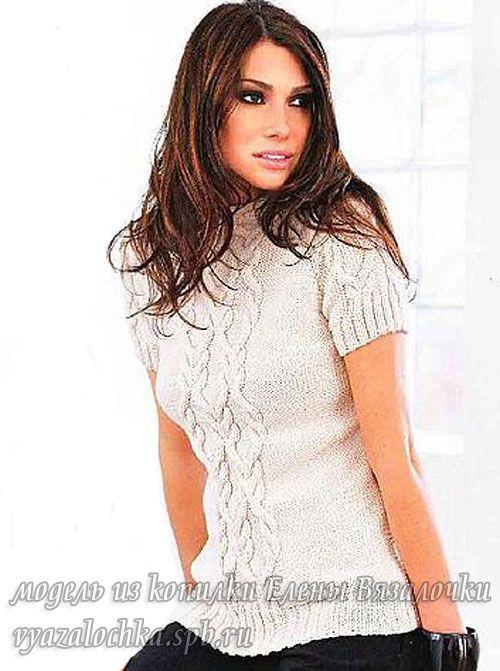 Сегодня в моей копилке интересных моделек будет пуловер спицами с короткими рукавами. Это простая и в то же время эффектная модель. Его я сама вязала, поэтому могу свои пару слов сказать. Пуловер о…