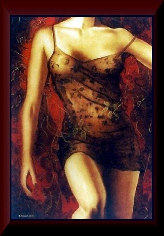 """Łukasz Kocjan MALARSTWO seria """"KORONKI"""" w brązie      series """"LACE"""" in bronze  olej na płótnie 92x65 cm.      oil on canvas 92x65 cm."""