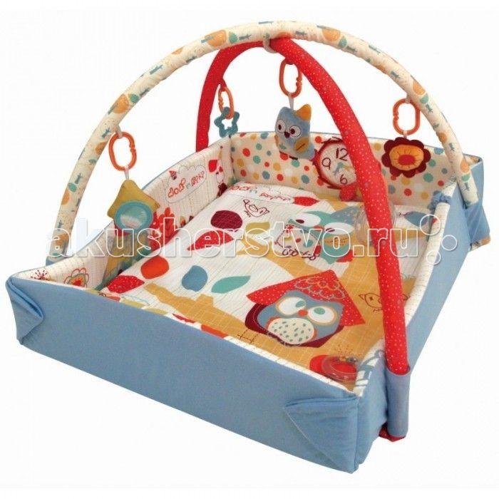 Развивающий коврик Baby Mix Сова с бортиками  Развивающий коврик Сова с бортиками - это целая игровая площадка, в которой есть все необходимое для занимательной игры и развития малыша. Он будет интересен как совсем маленьким крошкам, так и подросшим карапузам. Яркие тона игрового поля, красочные подвесные игрушки - вот те особенности, которые привлекают внимание ребенка.  Особенности: довольно большое игровое поле на игровом поле есть несколько разнотекстурных элементов безопасное зеркальце…