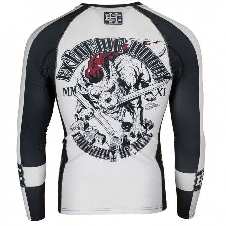 Longsleeve rashguard CHURCH. Color: black and white. Excellent quality rashguard HOBBY EXTREME is ideal for hard training people who appreciate the highest class of products. Made of high quality material, which, thanks to its flexibility, clings to the body. Sophisticated thermoregulation system by which the body is dry and the muscles warmed up. Sublimated logos (will not scratch).
