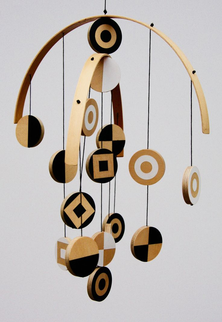 Modern Wooden Hanging Mobile for children, baby, nursery, home decor, baby shower by ScoutandWander on Etsy