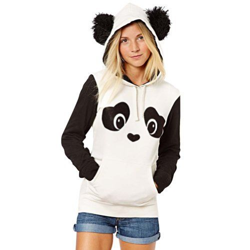 Meilaier Women's Cute Panda Print White and Black Fleece Hoodie Tops ** Click on the image for additional details.