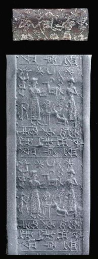 Elamite cylinder seal, haematite, Sukkalmah dynasty, 1900-1600 B.C.  With a worshipper before the storm god, the scene placed horizontally, the god wearing a horned tiara and a long creased robe open at the front, with a three-line inscription in Elamite cuneiform naming the owner Shagga, son of Abriri, servant of Adad,   2.9 cm long. Private collection