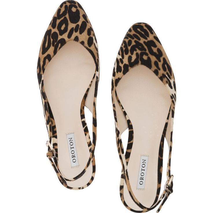 With a pointed toe and sling back, the Dynamite Print sling back flats are made from luxurious calf hair and are ideal for day or night in leopard from Oroton