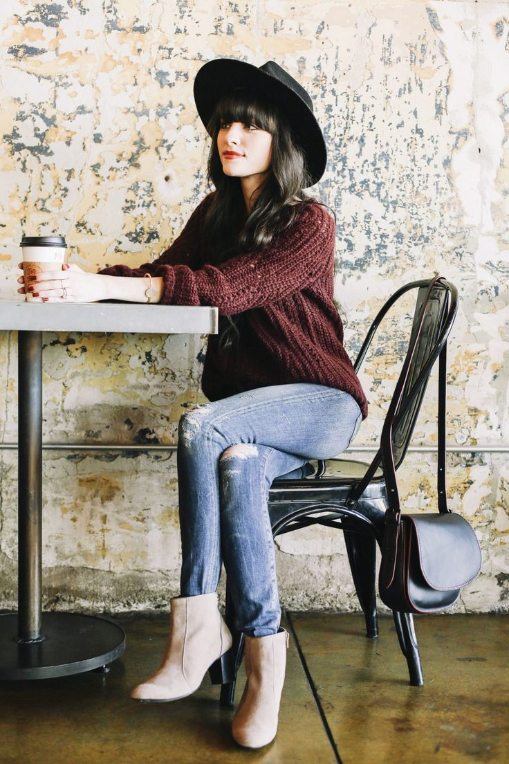 What's Your Casual? - New Darlings - Fall Style - Hush Puppies Suede Booties - Sezané Sweater - Black Hat