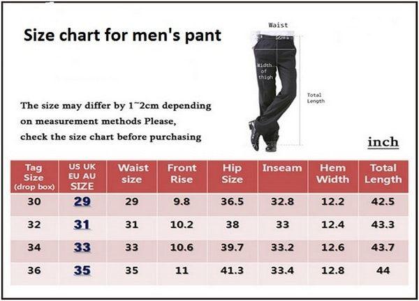 Size Chart For Men S Pant Dress Measurement Mens Pants
