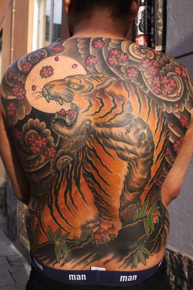 japanese tiger back piece tattoo made by isak at east. Black Bedroom Furniture Sets. Home Design Ideas